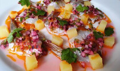Prawn ceviche, roasted prawn potatoes