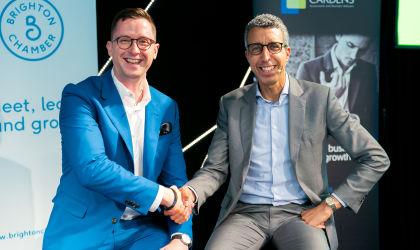 Kamal Ahmed and James Dempster at Brighton Summit
