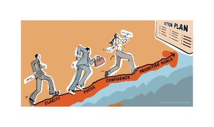 'Develop your Business Action Plan'. Illustration for networking and coaching event for 'Heads-up Coaching'