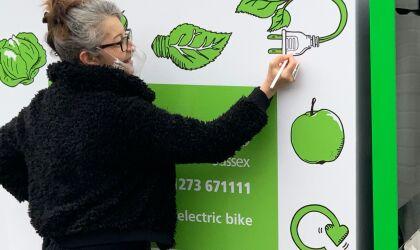 Fareshare Sussex e-bike, illustrations by Sandra Staufer