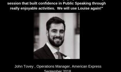 Testimony from Amex after Public Speaking workshop